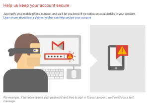 Two-factor authentication sends a text to your cellphone at gmail.com
